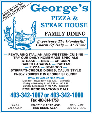 George's Pizza & Steak House (403-342-1097) - Annonce illustrée
