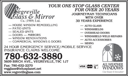 Vegreville Glass &amp; Mirror Co (1989) Ltd (780-632-3880) - Annonce illustr&eacute;e