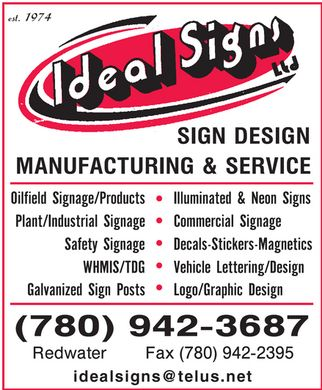 Ideal Signs Ltd (780-942-3687) - Display Ad - idealsigns@telus.net
