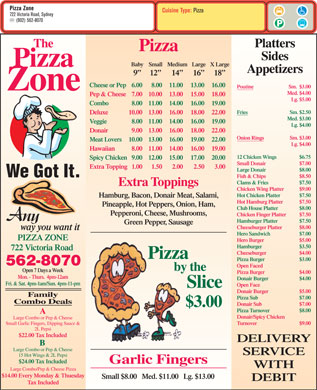 Pizza Zone (902-562-8070) - Menu