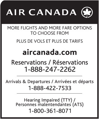 Air Canada (1-888-247-2262) - Annonce illustr&eacute;e