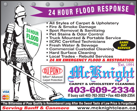 McKnight Carpet & Upholstery Cleaning (403-609-2334) - Display Ad