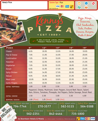 Kenny's Pizza (902-564-5588) - Menu
