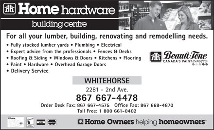 Home Hardware Building Centre - Whitehorse   (867-667-4478) - Annonce illustrée