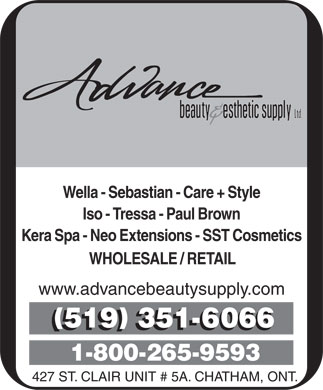 Advance Beauty & Esthetic Supply Ltd (519-351-6066) - Annonce illustrée