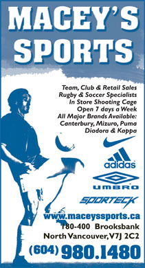 Macey's Sports (604-980-1480) - Display Ad