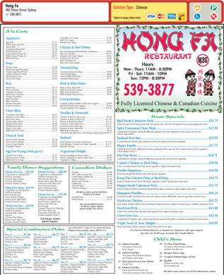 Hong Fa Restaurant (902-539-3877) - Menu