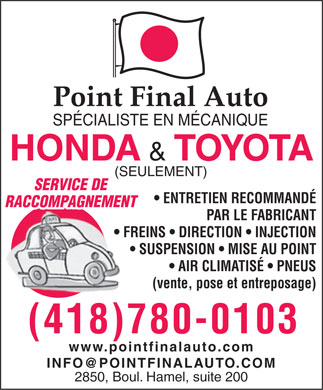 Point Final Auto Inc (418-780-0103) - Annonce illustrée