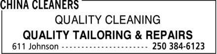 China Cleaners (250-384-6123) - Annonce illustrée - QUALITY CLEANING QUALITY TAILORING & REPAIRS