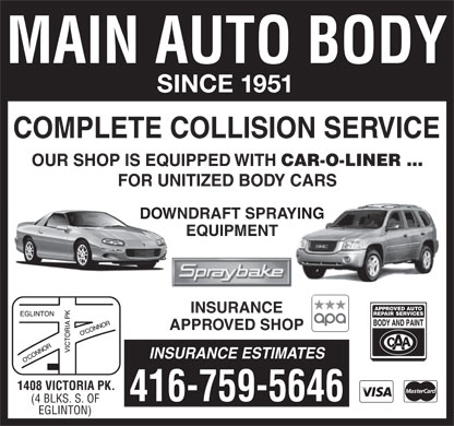 Main Auto Body Ltd (416-759-5646) - Annonce illustrée