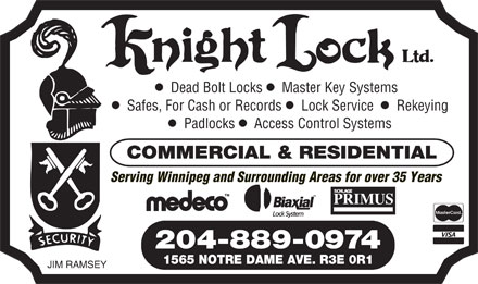 Knight Lock Ltd (204-889-0974) - Annonce illustr&eacute;e