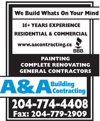 A & A Building Contracting (204-774-4408) - Annonce illustrée