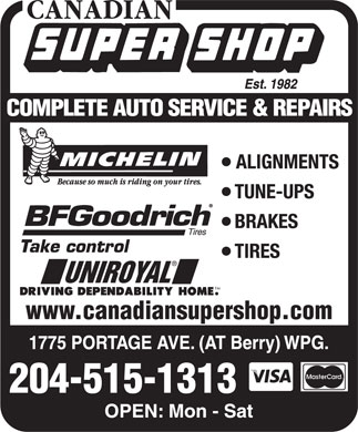 Canadian Super Shop Inc (204-885-5900) - Annonce illustrée - www.canadiansupershop.com 204-515-1313 www.canadiansupershop.com 204-515-1313