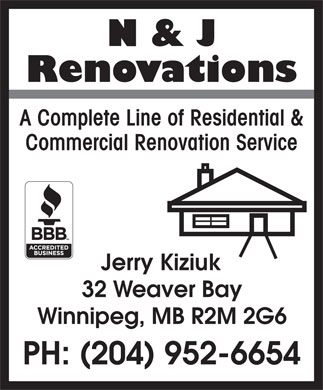 N & J Renovations (204-952-6654) - Display Ad
