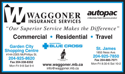 Waggoner Insurance Services (204-925-8620) - Display Ad