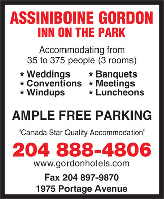 Assiniboine Gordon Inn On The Park (204-808-8913) - Display Ad