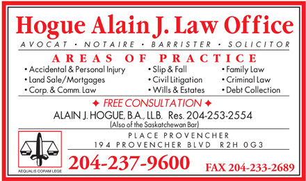 Hogue Alain J Law Corporation (204-237-9600) - Annonce illustr&eacute;e