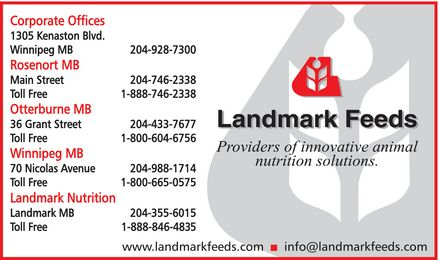 Landmark Feeds (204-928-7300) - Annonce illustrée