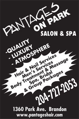 Pantages On Park Salon & Spa (204-727-2053) - Display Ad