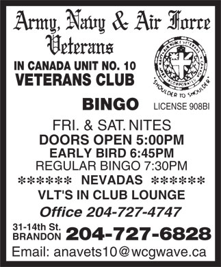 Army Navy & Air Force Veterans In Canada Unit No 10 (204-727-6828) - Annonce illustrée