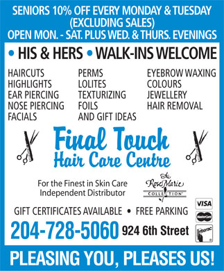 Final Touch Hair Care Centre (204-728-5060) - Display Ad