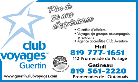 Club Voyages Guertin (819-777-1651) - Annonce illustr&eacute;e