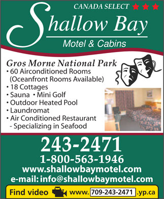 Shallow Bay Motel &amp; Cabins (709-243-2471) - Display Ad