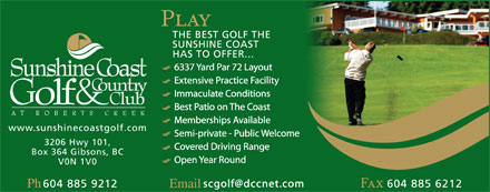 Sunshine Coast Golf & Country Club (604-740-3271) - Display Ad