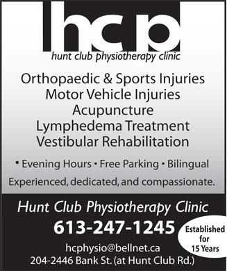 Hunt Club Physiotherapist (613-247-1245) - Display Ad