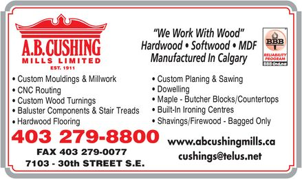A B Cushing Mills Ltd (403-279-8800) - Annonce illustr&eacute;e