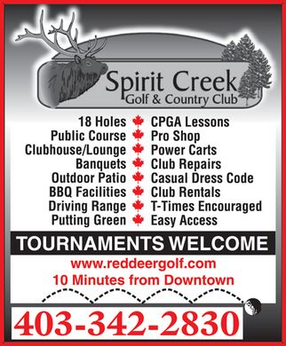 Spirit Creek Golf & Country Club (403-342-2830) - Display Ad - 403-342-2830