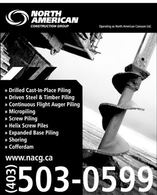 North American Construction Group Inc (403-503-0599) - Display Ad - North American  Contruction Group operating as north american classroom Ltd. Drilled cast-in-place piling driven steel & timber piling continuous flight auger piling micropiling screwpiling helix screwpiles expanded basepiling shoring cofferdam www.nacg.ca (403) 503-0599 North American  Contruction Group operating as north american classroom Ltd. Drilled cast-in-place piling driven steel & timber piling continuous flight auger piling micropiling screwpiling helix screwpiles expanded basepiling shoring cofferdam www.nacg.ca (403) 503-0599