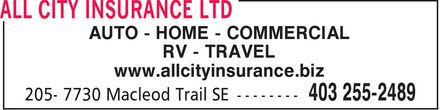 All City Insurance Ltd (403-255-2489) - Annonce illustrée - AUTO - HOME - COMMERCIAL RV - TRAVEL www.allcityinsurance.biz