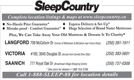 Sleep Country (250-383-5601) - Display Ad