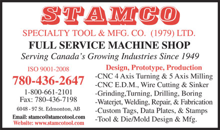STAMCO Specialty Tool & Mfg Co (1979) Ltd (780-436-2647) - Display Ad