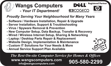 Wangs Computers (905-580-2299) - Annonce illustrée