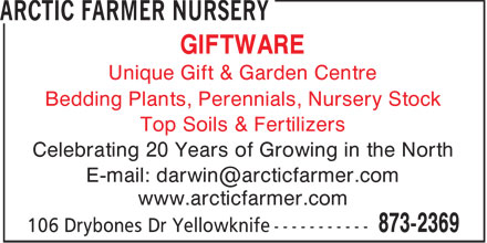 Arctic Farmer Nursery (867-873-2369) - Display Ad