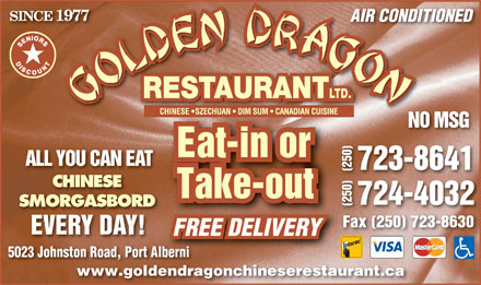 Golden Dragon Restaurant (250-723-8641) - Display Ad