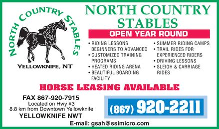 North Country Stables (867-920-2211) - Display Ad