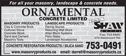 Ornamental Concrete Limited (709-753-0491) - Display Ad
