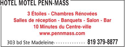 Hotel Motel Penn-Mass (819-379-8877) - Annonce illustrée======= - 3 Étoiles - Chambres Rénovées Salles de réception - Banquets - Salon - Bar 10 Minutes du Centre-ville www.pennmass.com