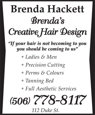 Brenda's Creative Hair Design (506-778-8117) - Annonce illustrée