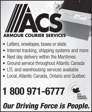 Armour Courier Services (1-800-971-6777) - Annonce illustr&eacute;e