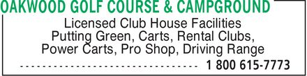 Oakwood Golf Course & Campground (204-422-8045) - Display Ad