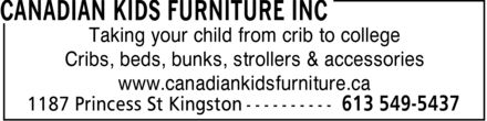 Canadian Kids Furniture Inc (613-549-5437) - Annonce illustrée