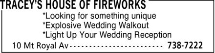 Tracey's House Of Fireworks (709-738-7222) - Annonce illustrée======= - *Looking for something unique *Explosive Wedding Walkout *Light Up Your Wedding Reception