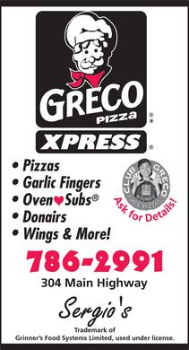 Greco Pizza (709-786-2991) - Display Ad