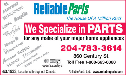 Reliable Parts Ltd (204-783-3614) - Display Ad
