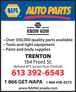 NAPA Auto Parts (613-392-6543) - Display Ad