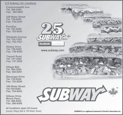 Subway (709-754-8292) - Display Ad